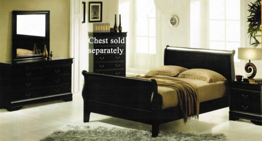 4pc Queen Size Bedroom Set With Hidden Drawers In Black Finish
