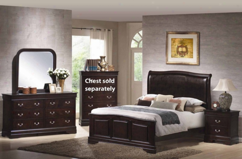 4pc Queen Size Bedroom Set With Leather Headboard In Cappuccino Finish
