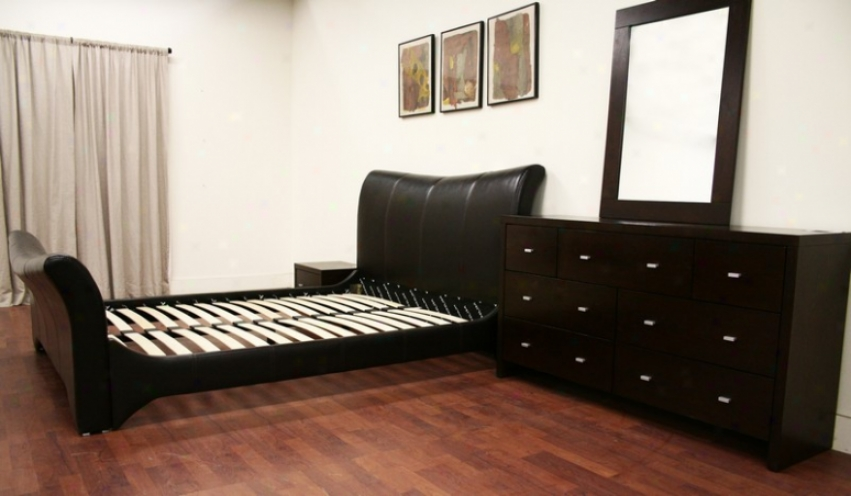 4pc Queen Size Sleigh Bedroom Set In Dark Brown Polish