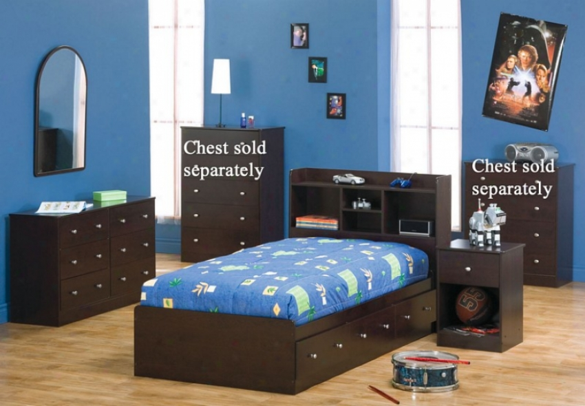 4pc Doubled Size Bedroom Set Cottage Style In Cappuccinoo Finish