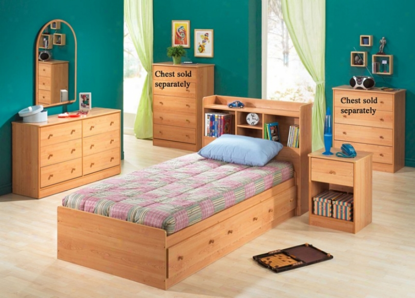 4pc Twin Size Bedroom Set Coftage Style In Oak Finish
