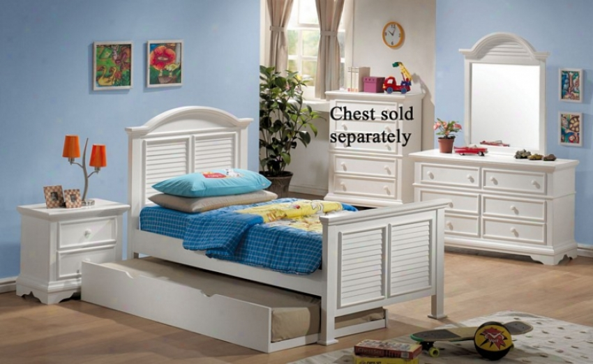 4pc Doubled Size Bedroom Set With Shutter Design In White Finish