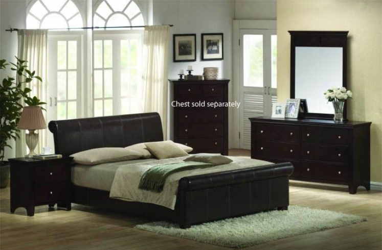 4pcs Eastern King Size Bedroom Swt - Espresso Finish