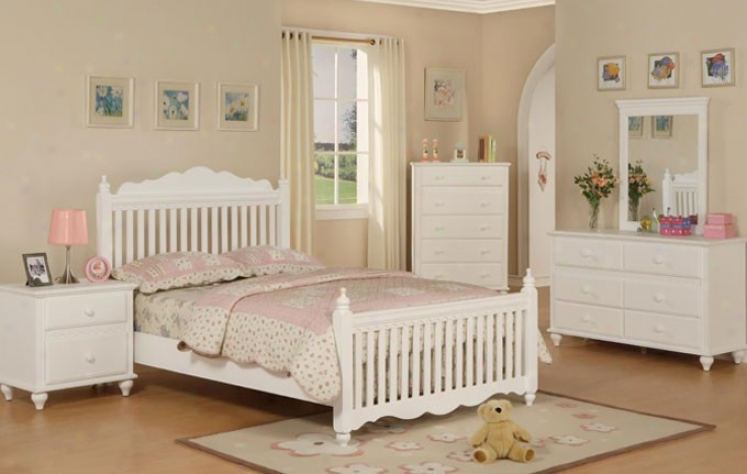 4pcs Full Size Bedroom Set - Cottage Style White Finish