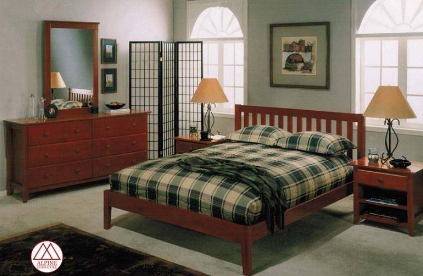 4pcs Full Size Platform Bed B3droom Set Through  Cojtemporary Style In Light Cherry Finish