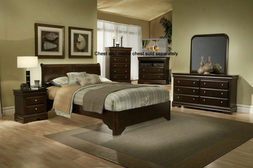 4pcs Full Size Sleigh Bed Bedroom Set In Cappuccino Finish