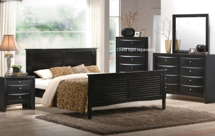 4pcs Queen Size Bedroom Set - Dark Espresso Finish