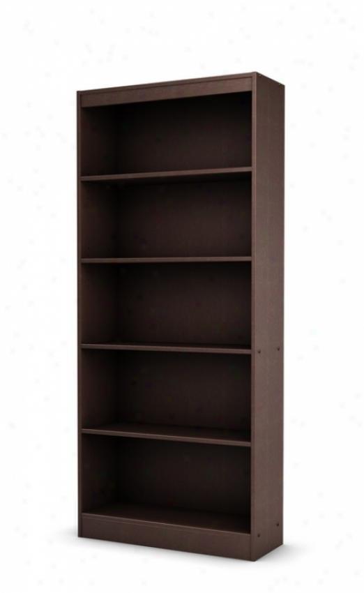 5 Tier Bookcase Shelf Contemporary Style In Chocolate Finish