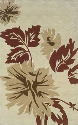5' X 7' Area Rug Autumn Leaves In Cream And Beige