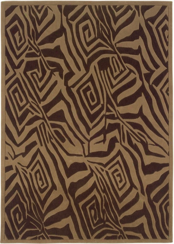 5' X 7' Region Rug Chocolate Zebra Pattern In Beige Color