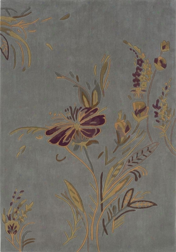 5' X 7' Area Rug Flower Exemplar In Pale Blue And Gold