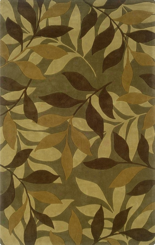 5' X 7' Area Rug Leaves Design In Green And Brown