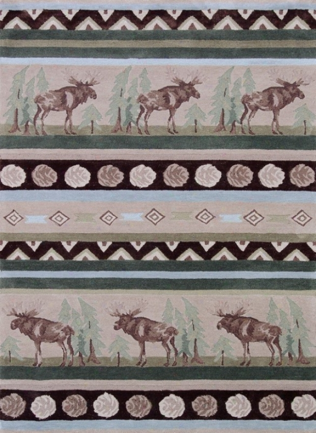 5' X 7' Hand Tufted Area Rug Moose Pattern In Beige And Green
