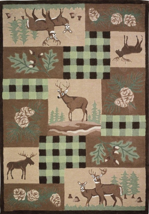 5' X 7' Hand Tufted Superficial contents Rug Moose Pattern In Green And Brown