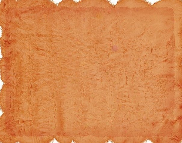 5' X 7' Tufted Faux Sheepskin Rug In Orange Color
