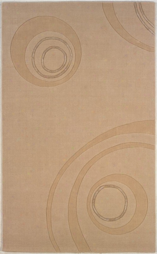5' X 8' Hand Tufted Area Rug Circles Pattern In Natural