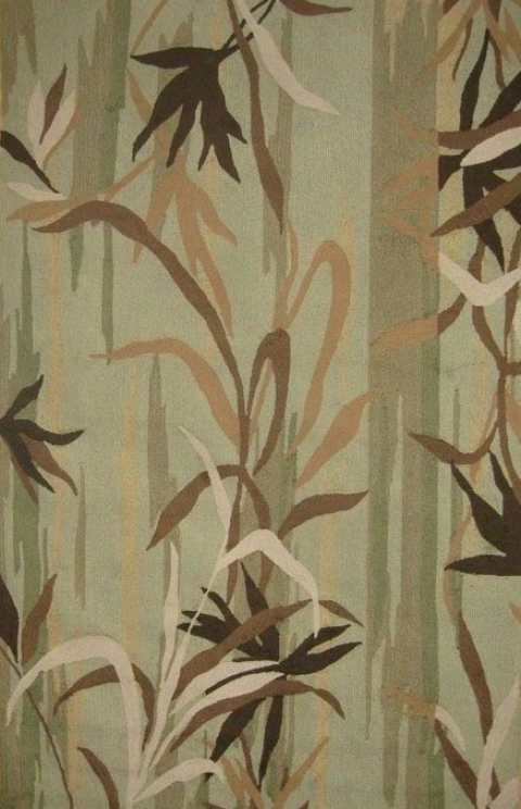 5' X 8' Indoor Outdoor Rug - Transitional Hand Hoooked Rug In Olive And Brown Color