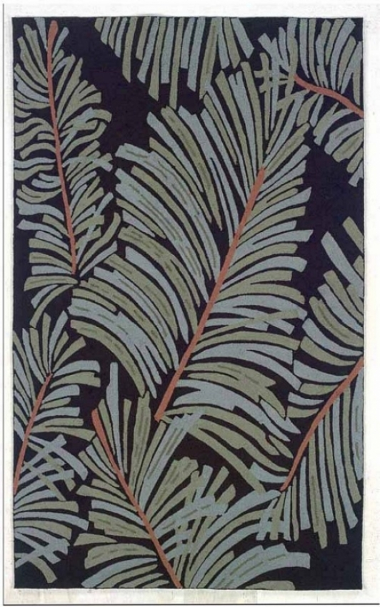 5' X 8' Indoor Outdoor Rug - Tropical Hand Hooked Rug In Ebony And Green Color
