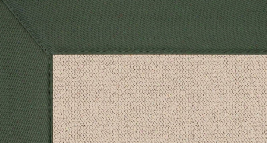 5' X 8' Natural Wool Rug - Athena Hand Tufted Rug With Green Border