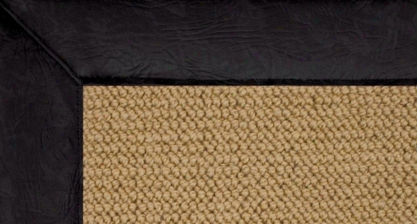 5' X 8' Sisal Wool Rug - Athena Hand Tufted Rug With Black Leather Border
