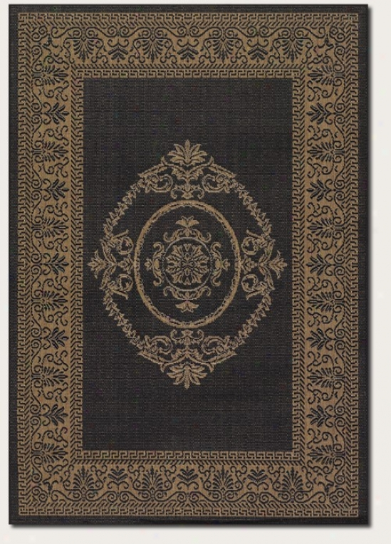 5'10&quot X 9'2&quot Area Rug Medallion Design In Black And Cocoa