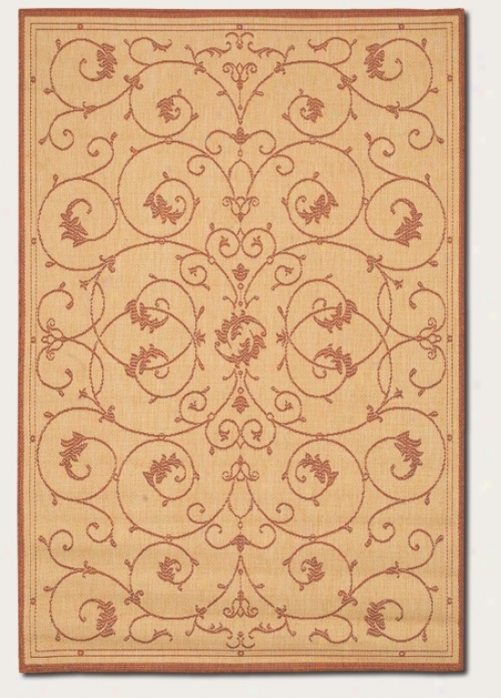 5'10&quot X 9'&2quot Area Rug Scroll Floral Design In Natural