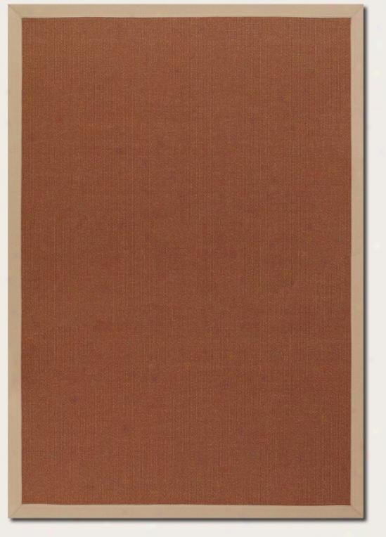 5'10&quot X 9'2&quot Area Rug With Border In Gold Terra-cotta Pigment