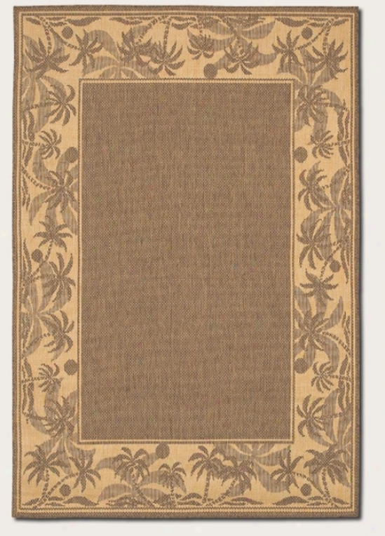 5'10&quot X 9'2&quot Area Rug With Palm Tree Design Border In Beige