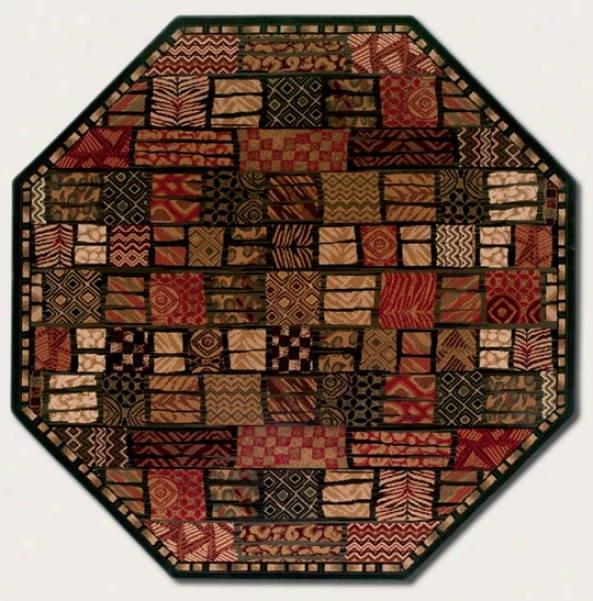 5'3&quot Octagon Area Rug Checkered Style By the side of Animal Prints