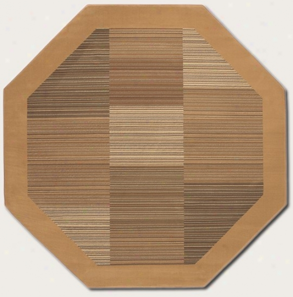 5'3&quot Octagon Area Rug Slender Stripe Pattern With Imbrown Border