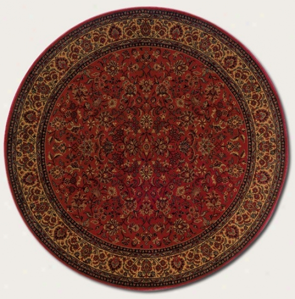 5'3&quot Round Area Rug Classic Persian Pattern In Decay Red