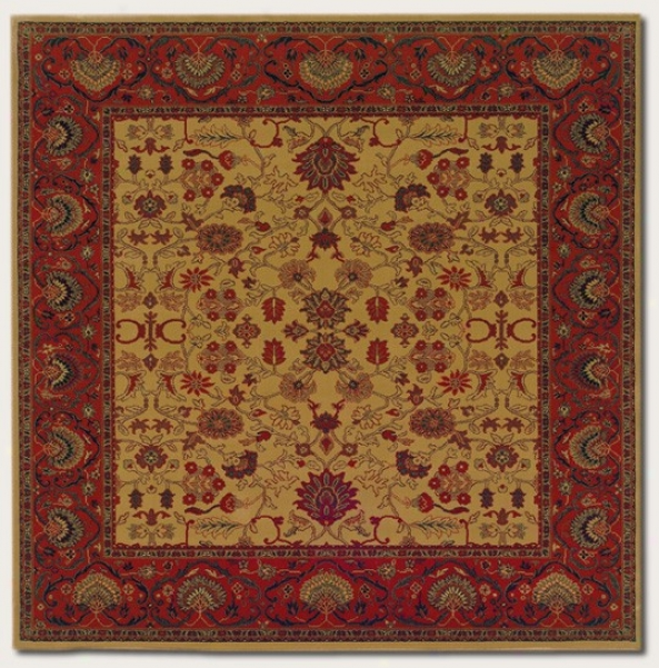 5'3&quot Square Area Rug Classic Persian Pattern In Gold Camel