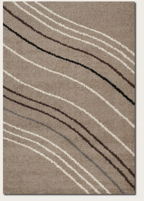5'3&quot X 7'6&quot Area Rug Curve Lines Design In Sand Color