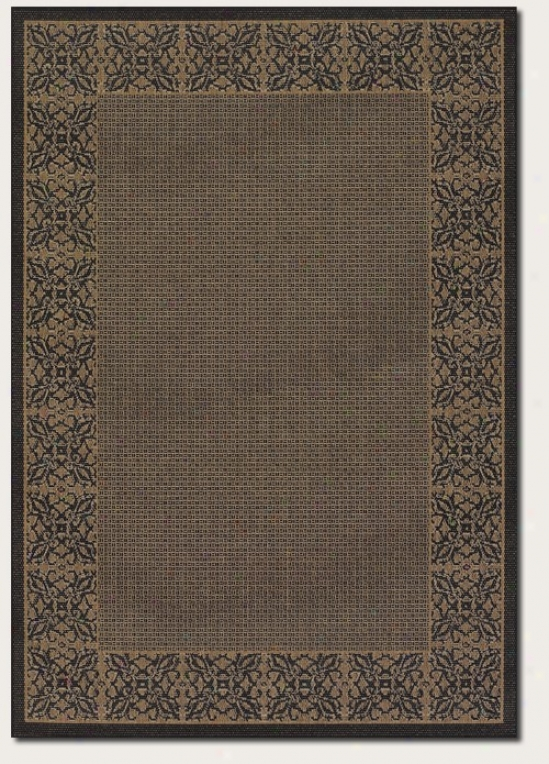5'3&quot X 7'6&quot Area Rug Floral Pattern Border In Cocoa And Black