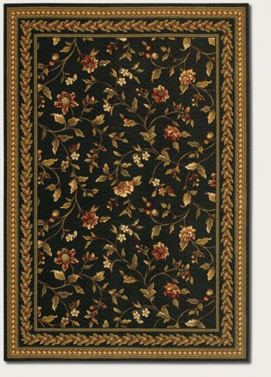 5'3&quot X 7'6&quot Region Rug Hand Crafted Vintage Floral Design In Black