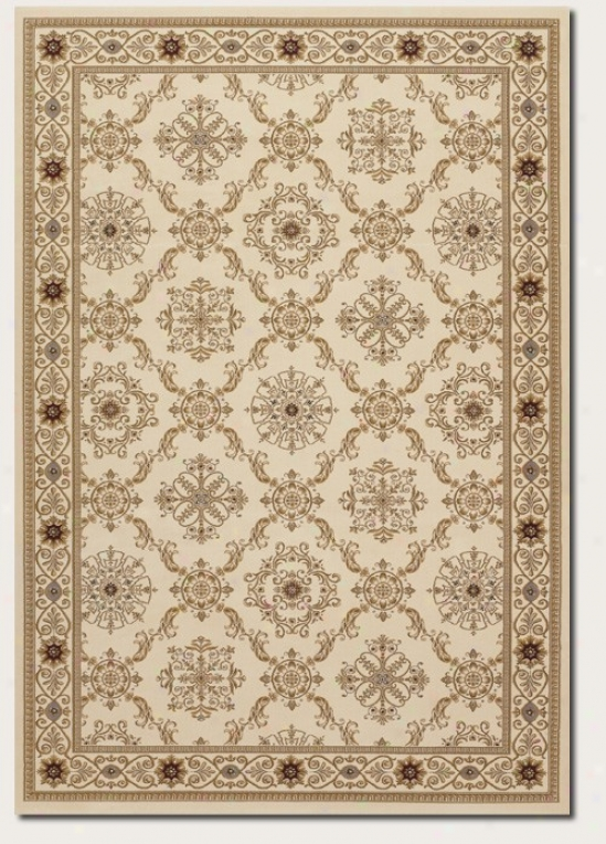 5'3&quot X 7'6&quot Area Rug Persian Diamond Pattern In Ivory
