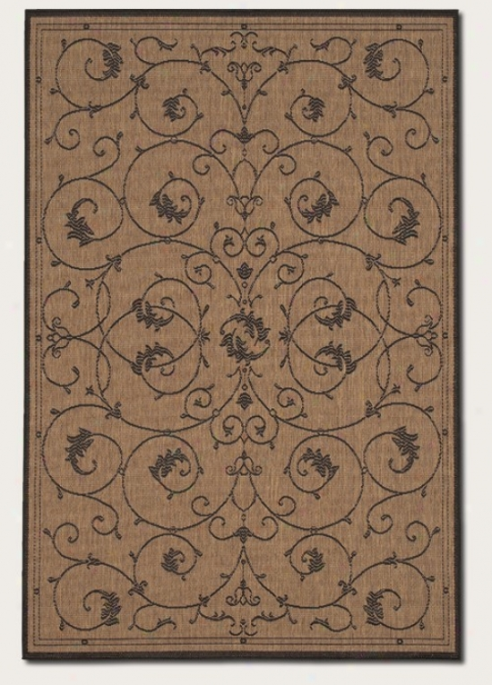 5'3&quot X 7'6&quot Area Rug Scroll Floral Design In Cocoa
