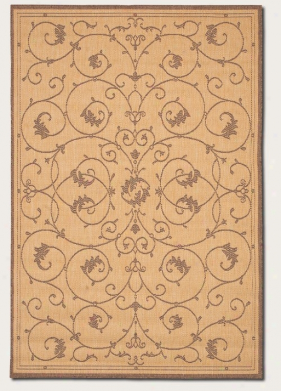 5'3&quot X 7'6&quot Area Rug Flourish Floral Design In Natural And Cocoa