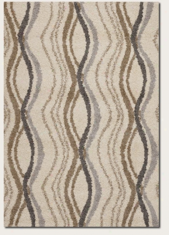 5'3&quot X 7'6&quot Area Rug Wave Pattern Design In Cream Disguise