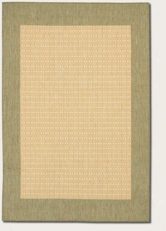 5'3&quot X 7'6&quot Area Rug With Green Border In Natural Pigment