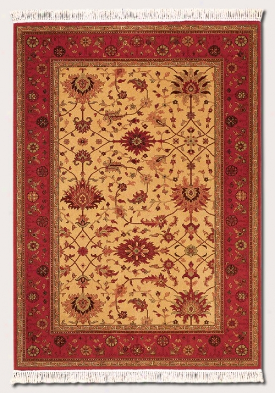 5'3&quot X 7'9&quot Area Rug Persian Floral Pattern In Brick Red And Gold