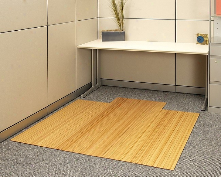 55&quot X 57&quot Natural 1/4&quot Thick Bamboo & Hardwood Office Chair Mat