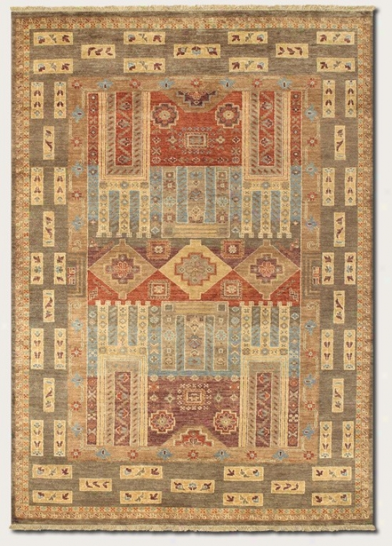 5'6&quot X 8' Area Rug Classic Persiaj Pattern In Olive Color