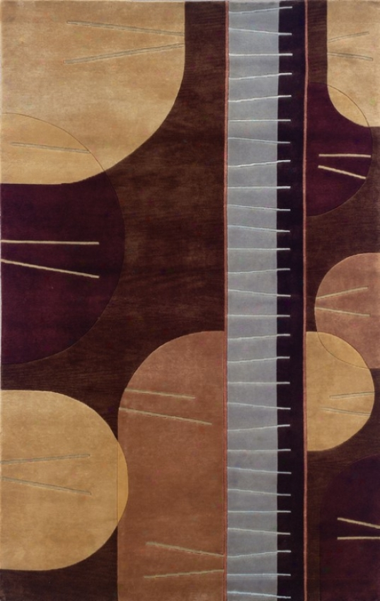5'6&quot X 8' Area Rug Contemporary Style In Chocolate And Pale Blue