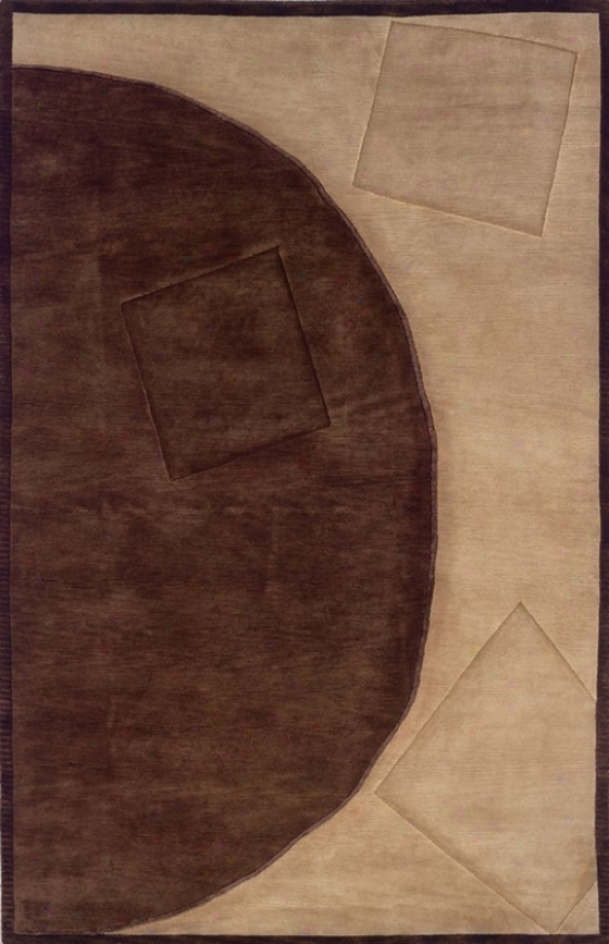 5'6&quot X 8' Area Rug Contemporary Style In Chocolate And Cream