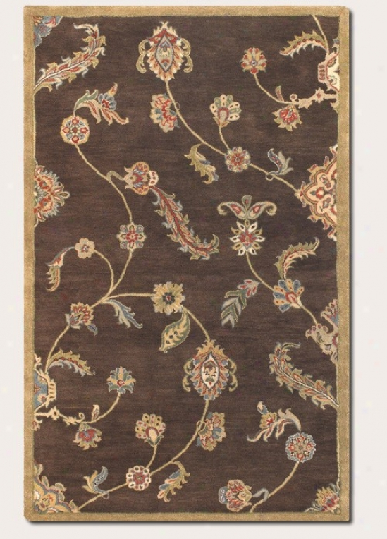 5'6&quot X 8' Area Rug Hand-crafted Large Persian Pattern In Brown