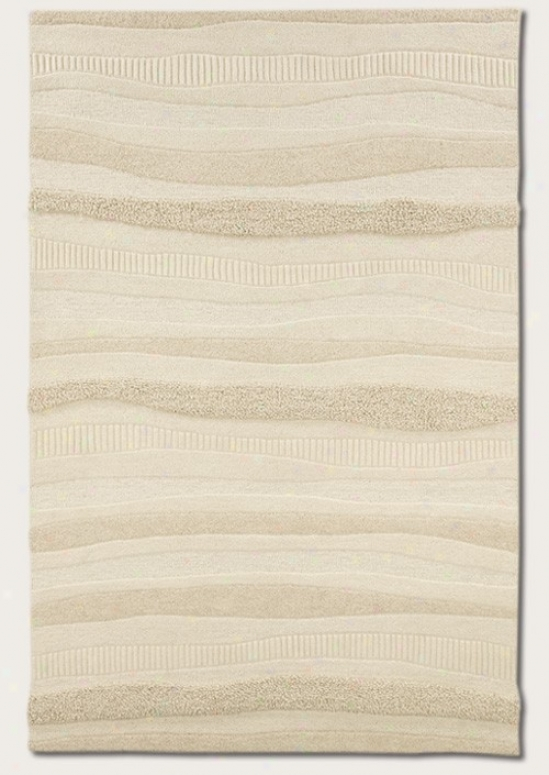 5'6&quot X 8' Area Rug Hand Crafted Wave Pattern In White