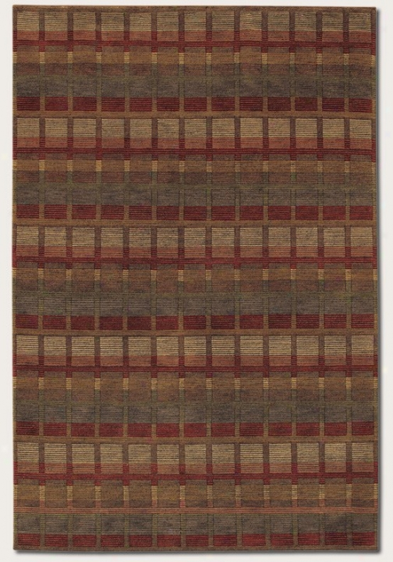 5'6&quot X 8' Area Rug Hand Knotted Striped And Checkered Design