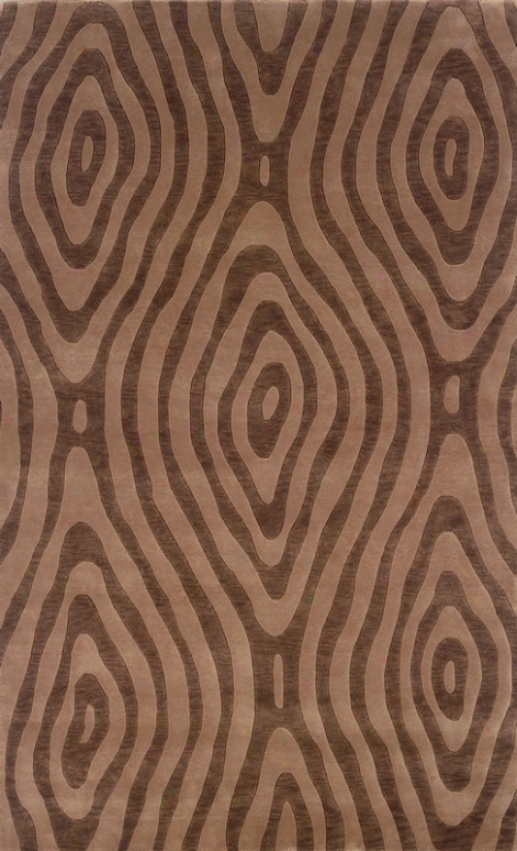 5'6&quot X 8' Area Rug Wood Grain Pattern In Beige And Chocolate