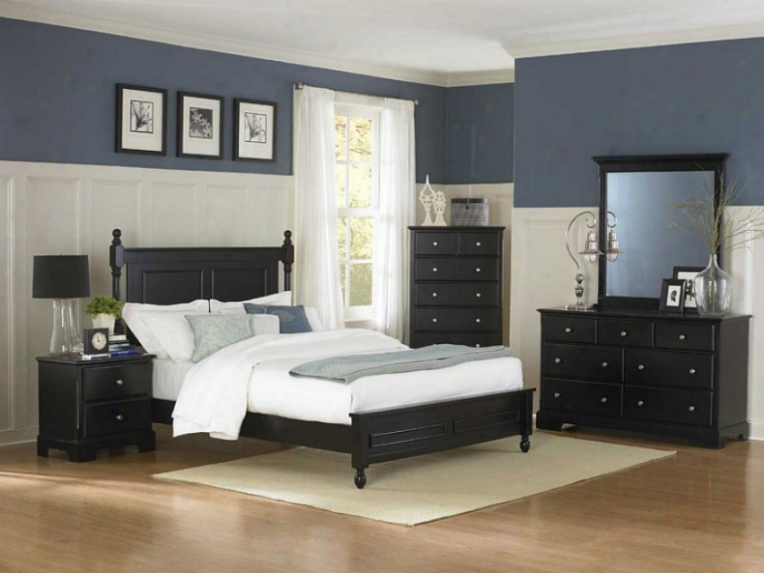 5pc Queen Bigness Bedroom Set Cottage Style In Black Finish